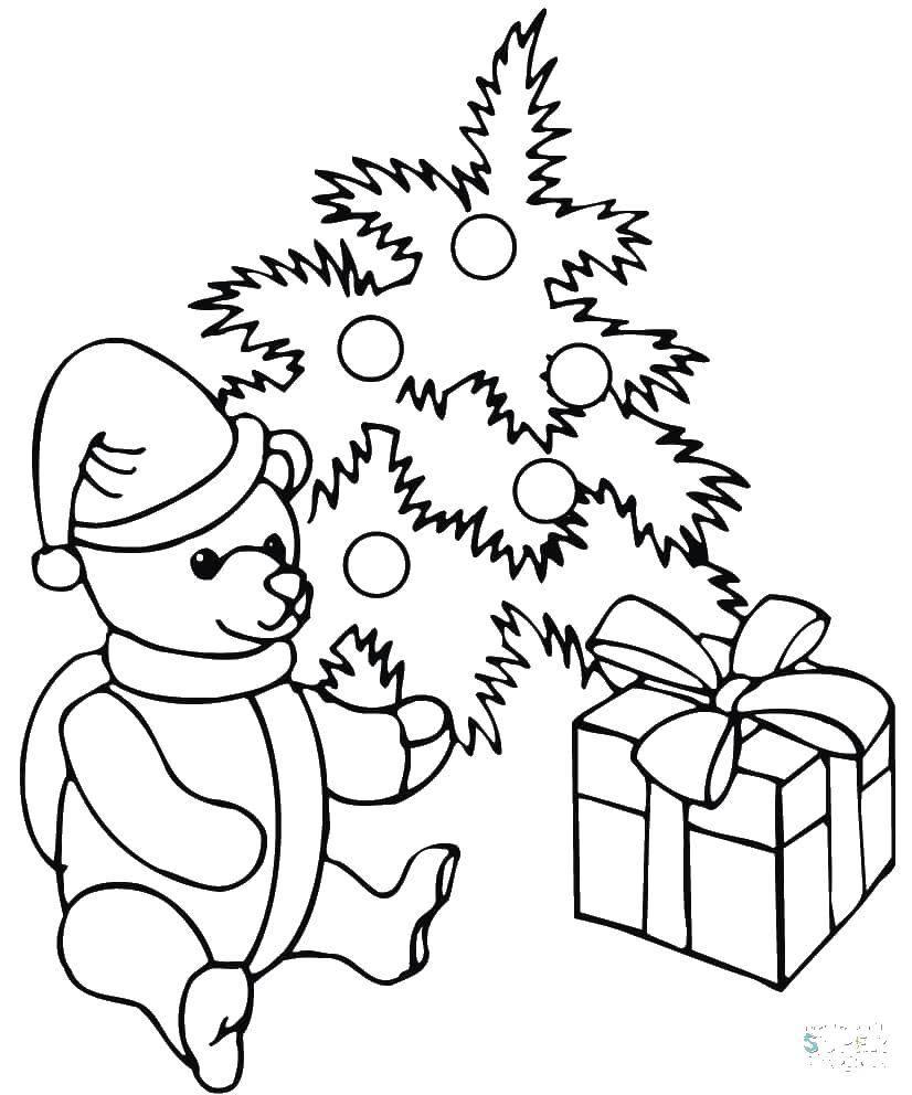 Раскраска Мишка в подарочек. Скачать Подарки, праздник.  Распечатать ,подарки,