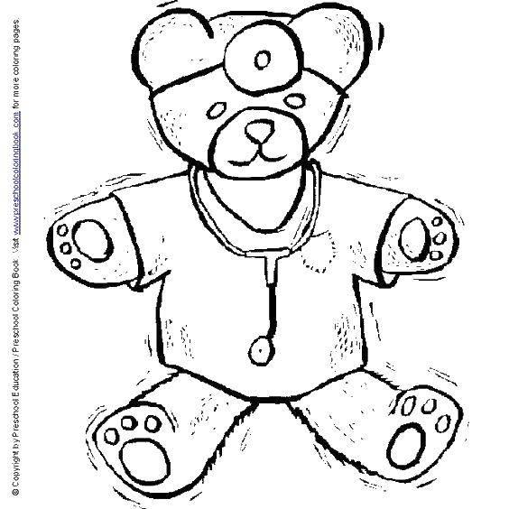 Раскраска Мишка врач. Скачать игрушки, мишка.  Распечатать ,игрушка,