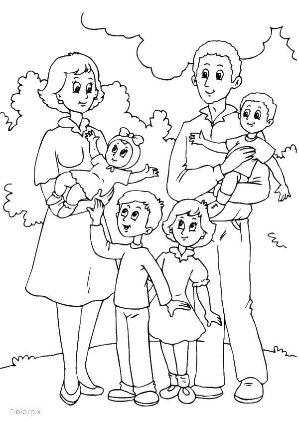 Раскраска Много детей в семье. Скачать Семья, родители, дети.  Распечатать ,Члены семьи,