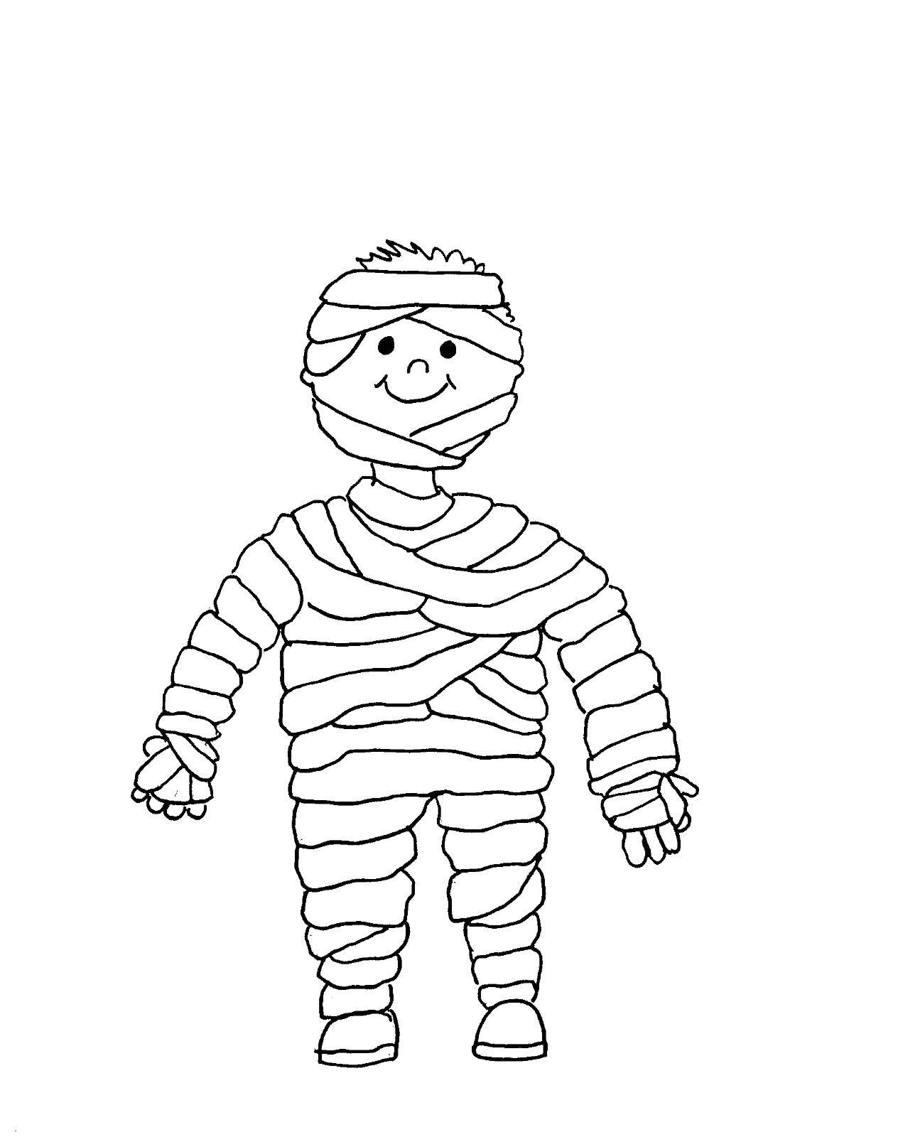Раскраска Мумия костюм. Скачать Мумия.  Распечатать ,Мумия,