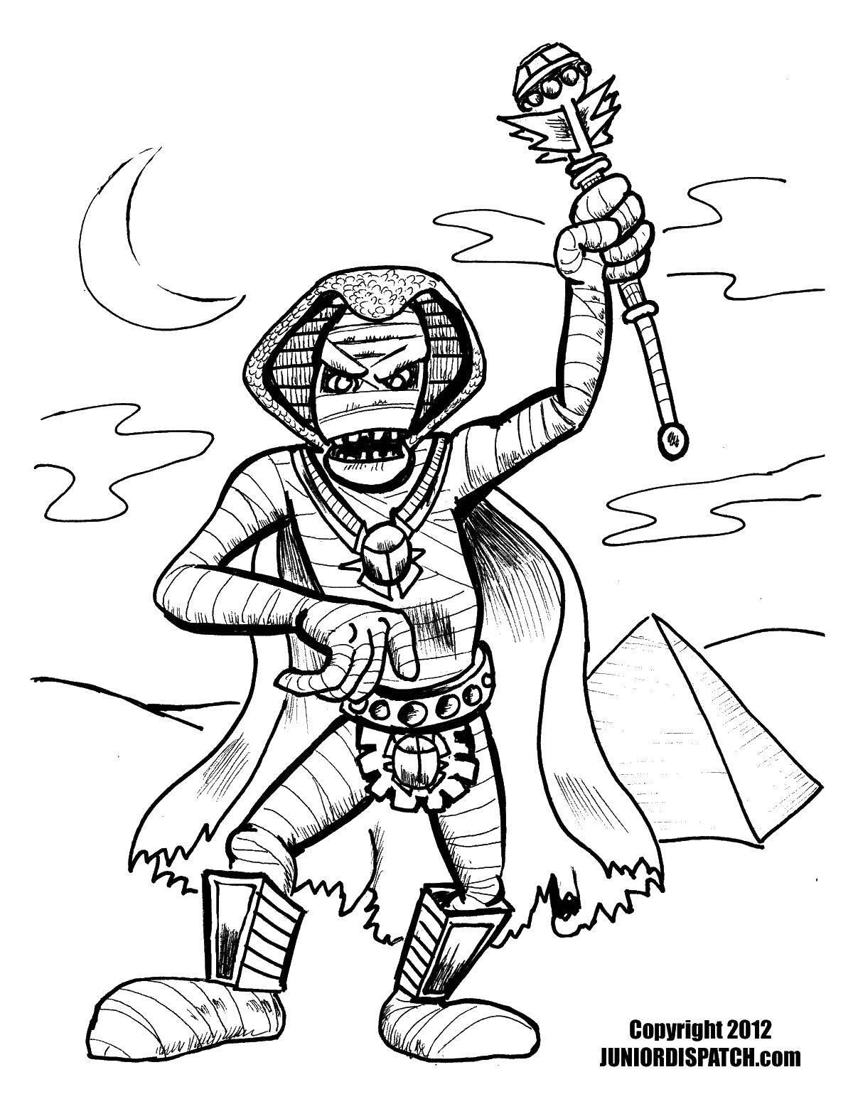 Раскраска Мумия восстала в гробнице фараона в пустыне. Скачать Мумия.  Распечатать ,Мумия,
