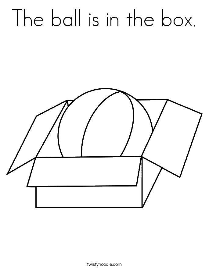 Раскраска Мяч в коробке Скачать коробка, мяч.  Распечатать ,раскраски,
