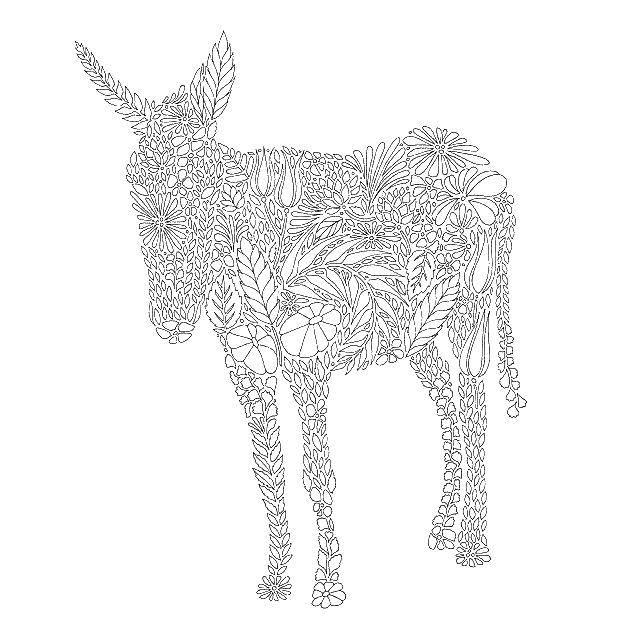Раскраска Ослик из узоров. Скачать животные, ослик, узорчики.  Распечатать ,Животные,
