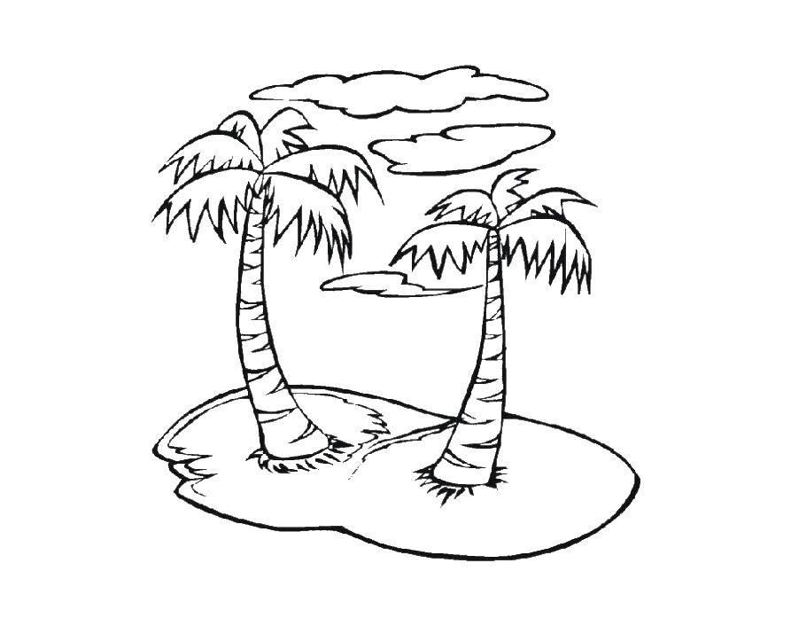 Раскраска Пальмочки на островке. Скачать Остров.  Распечатать ,остров,