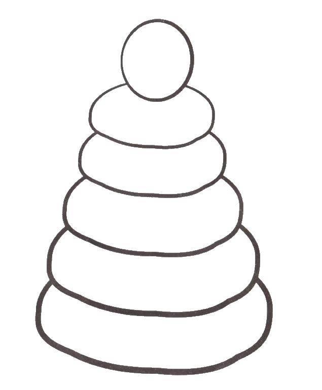 Раскраска Пирамида игрушка. Скачать игрушка, пирамида.  Распечатать ,игрушки,