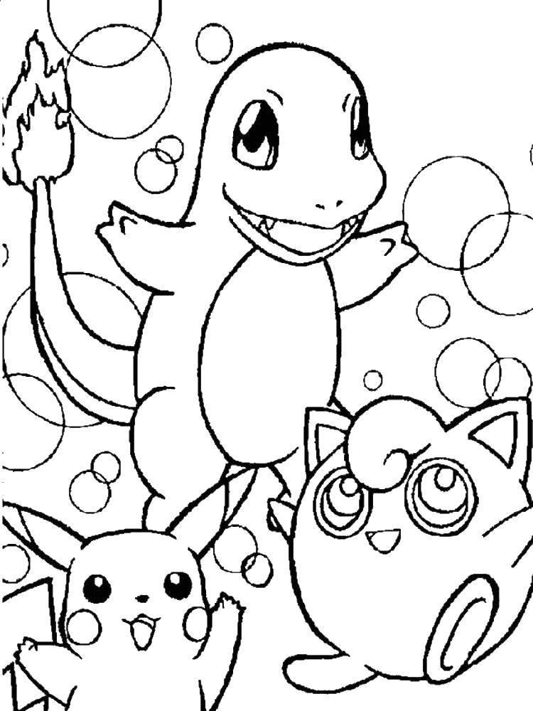 Раскраска Покемоны и пузыри Скачать покемоны, пикачу, пузыри.  Распечатать ,покемоны,