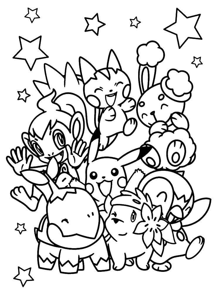 Раскраска Покемоны и звездочки Скачать пикачу, покемоны, звездочки.  Распечатать ,покемоны,