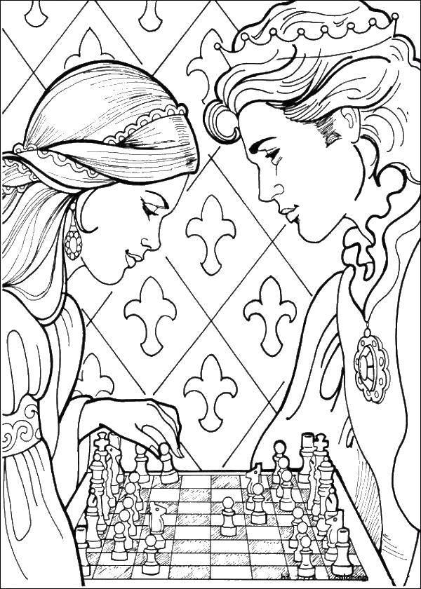 Раскраска Принц и принцесса играют в шахматы Скачать игра, спорт, шахматы, фигуры.  Распечатать ,Шахматы,