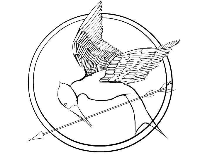 Раскраска Птица со стрелой. Скачать птицы, птица, стрела.  Распечатать ,птицы,