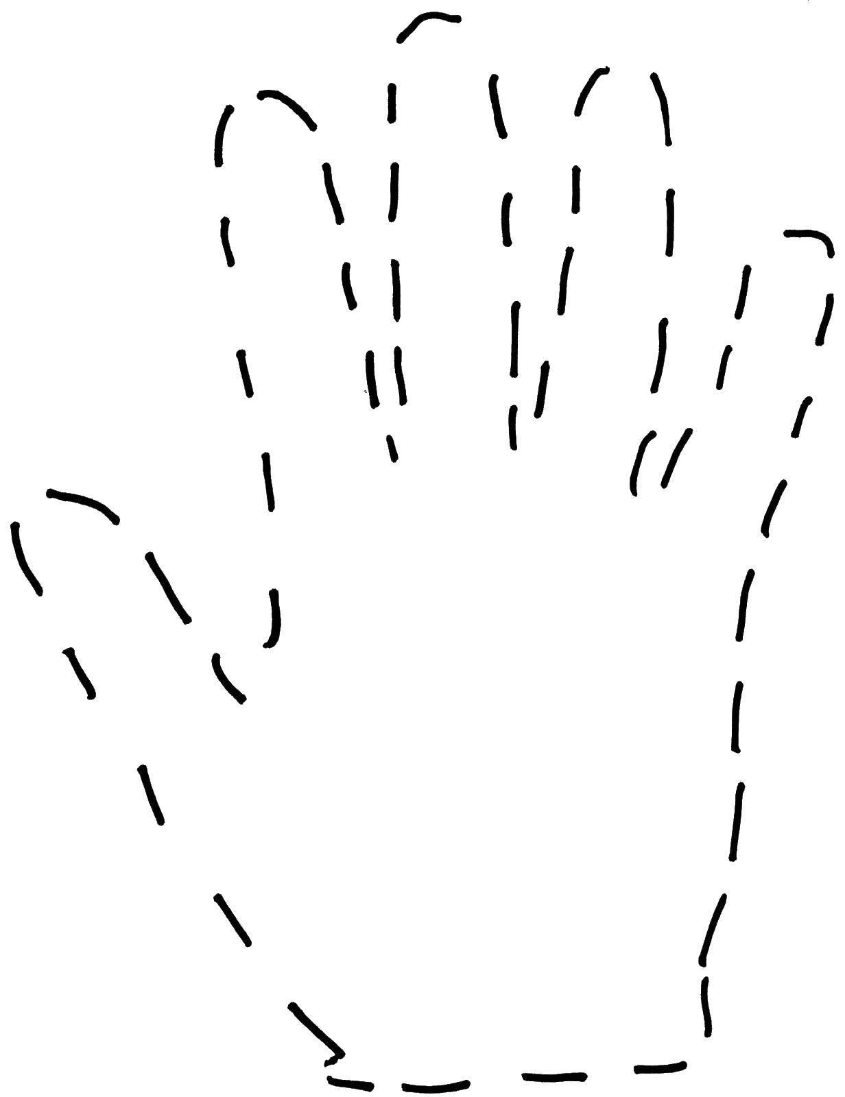 Раскраска Контур руки и ладошки для вырезания Скачать собака.  Распечатать ,животные,