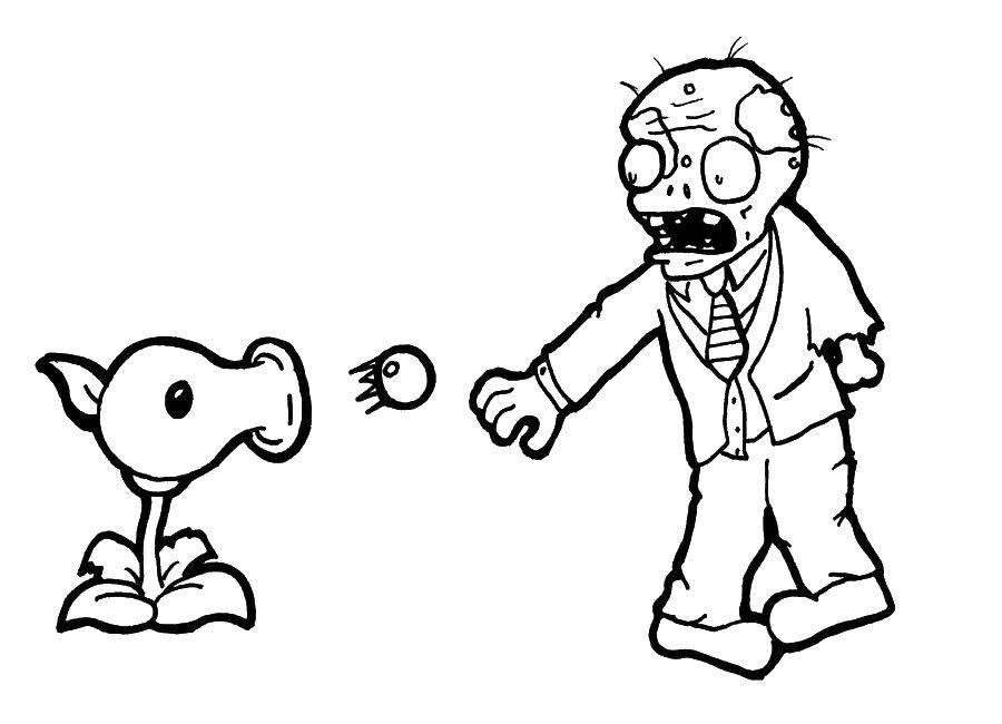 Раскраска Растение против зомби Скачать Зомби против растений, мультфильмы, зомби, растения.  Распечатать ,Зомби против растений,