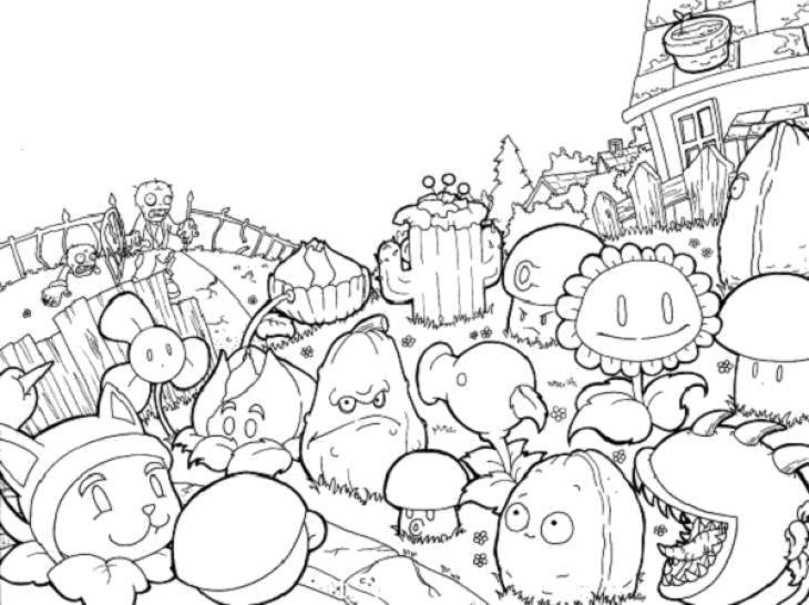 Раскраска Растения из мультфильма Скачать Зомби против растений, мультфильмы, зомби, растения.  Распечатать ,Зомби против растений,