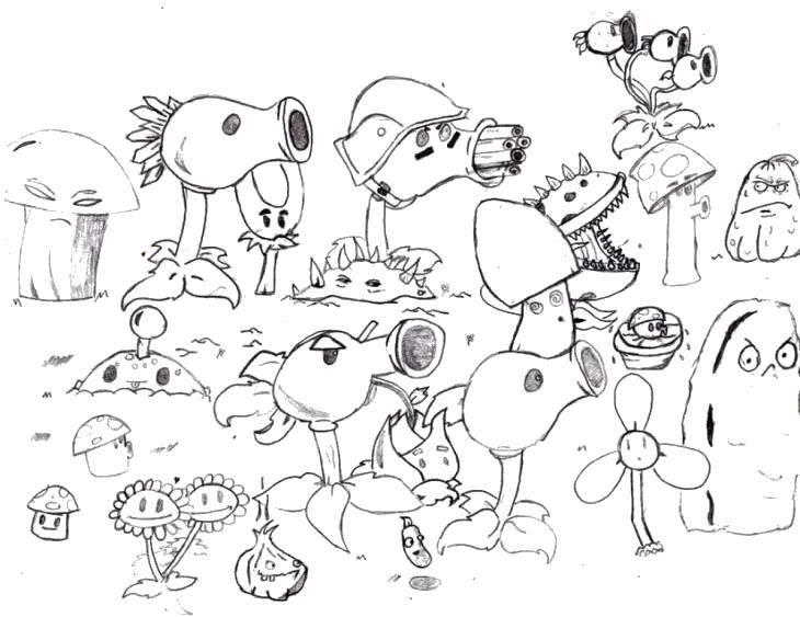 Название: Раскраска Растения. Категория: Зомби против растений. Теги: Зомби против растений, мультфильмы, зомби, растения.