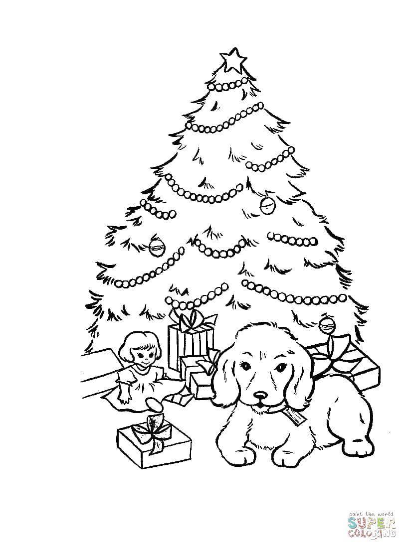 Раскраска Щеночек лёг под елкой. Скачать Рождество, ёлочная игрушка, ёлка, подарки.  Распечатать ,Рождество,