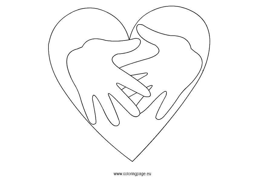 Раскраска Сердце и руки. Скачать сердце, руки.  Распечатать ,Контур руки и ладошки для вырезания,