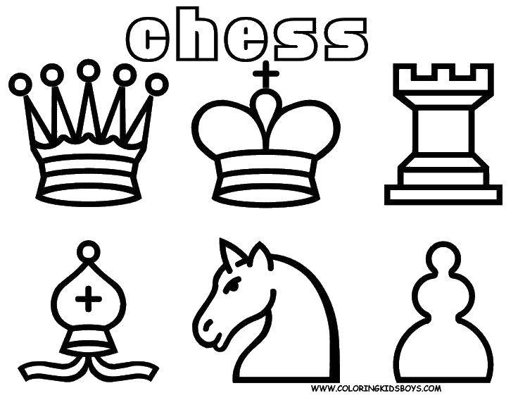 Раскраска Шахматные фигуры Скачать игра, спорт, шахматы.  Распечатать ,Шахматы,