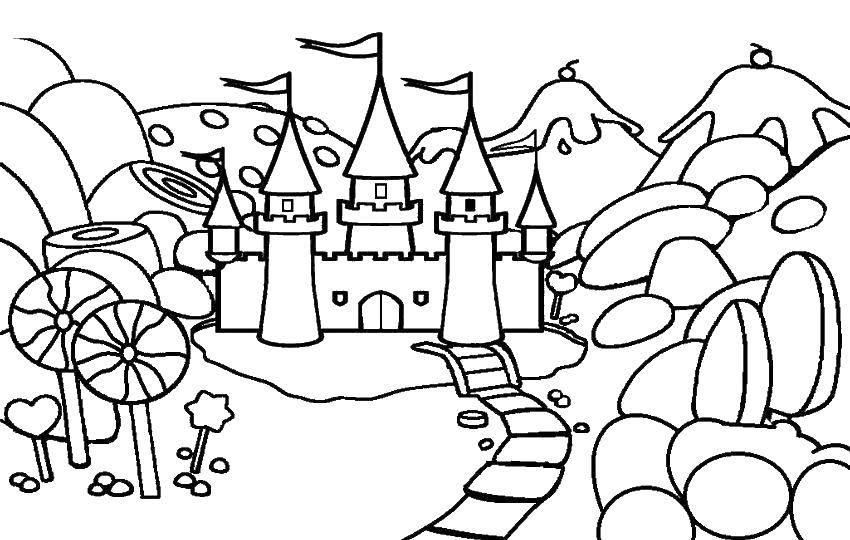 Раскраска Сказочный замок Скачать замки, башни, сказки.  Распечатать ,замки,