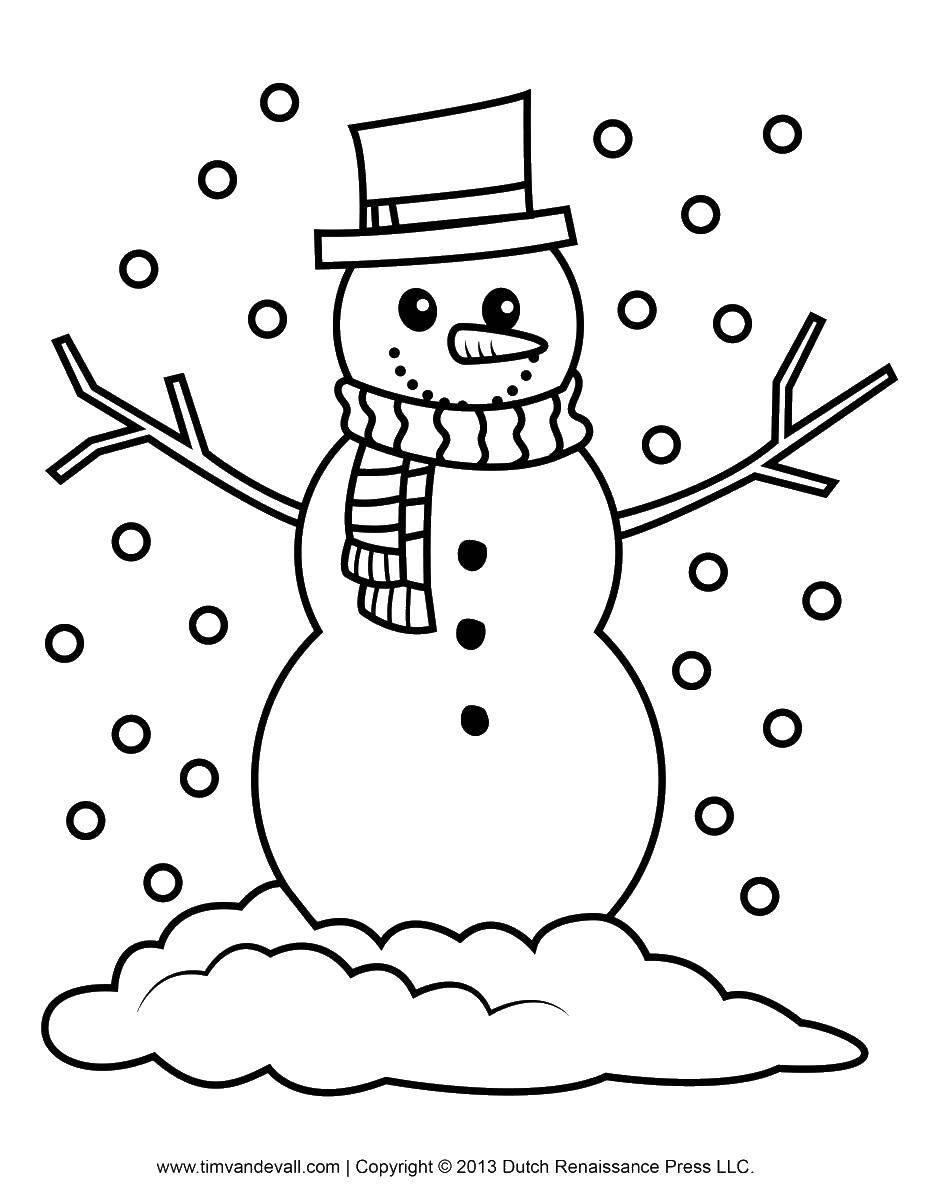 Раскраска Снежок падает на снеговика. Скачать Снеговик, снег, зима.  Распечатать ,снеговик,
