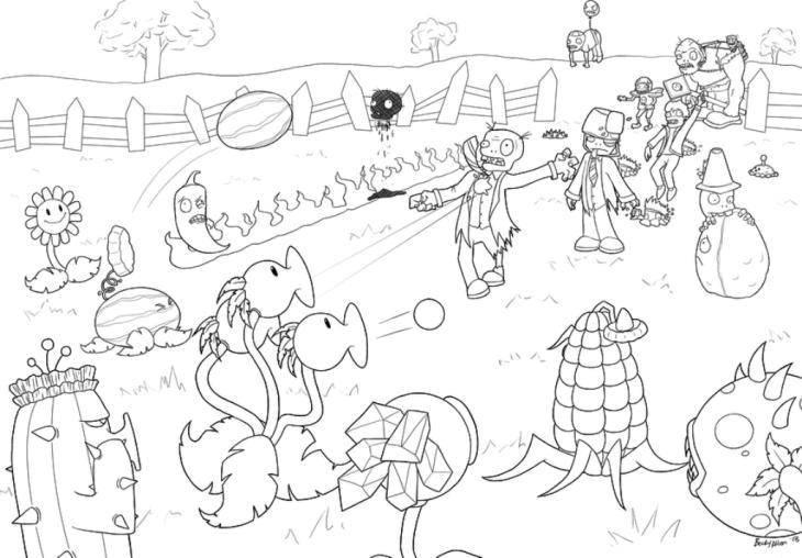 Раскраска Сражение зомби и растений Скачать Зомби против растений, мультфильмы, зомби.  Распечатать ,Зомби против растений,
