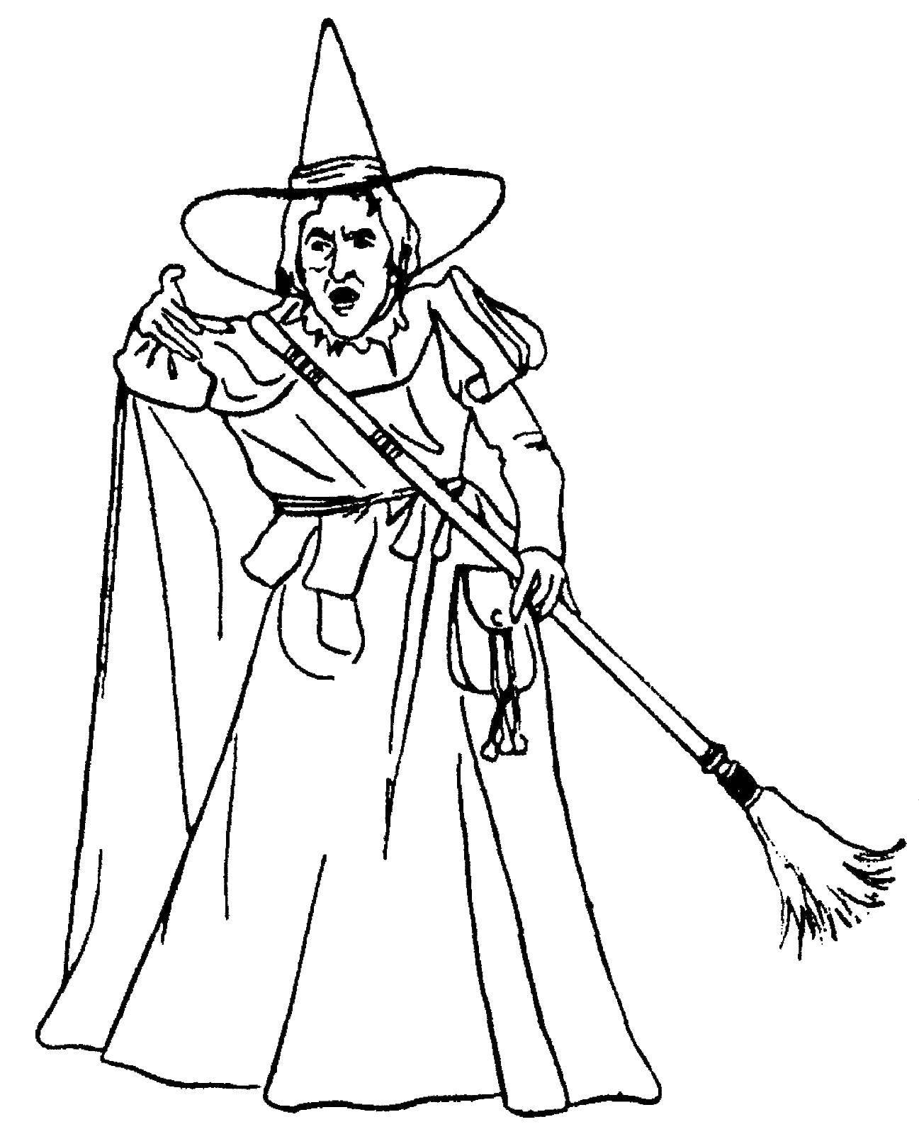 Раскраска Старая ведьма. Скачать ведьмы.  Распечатать ,ведьма,