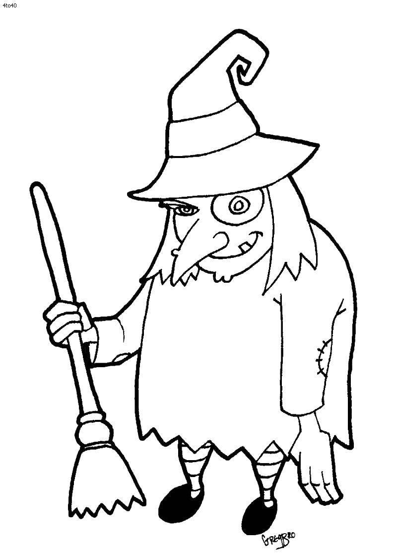 Раскраска Старая ведьма. Скачать ведьмы, метла.  Распечатать ,ведьма,