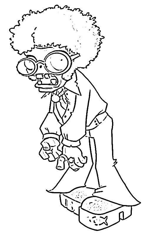 Раскраска Старый зомби Скачать зомби, зомби против растения, мультики.  Распечатать ,Зомби против растений,