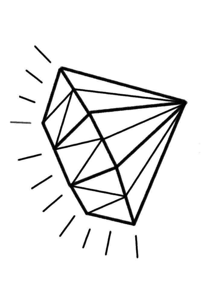 Раскраска Сверкает бриллиант Скачать Алмаз.  Распечатать ,кольцо,