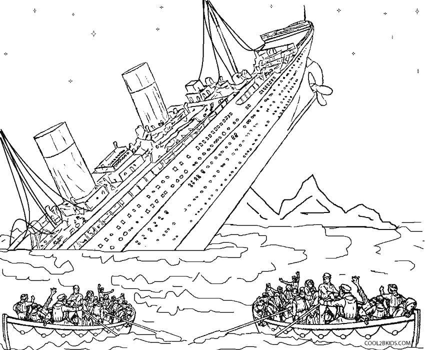 Раскраска Тонущий титаник Скачать ,Титаник,.  Распечатать