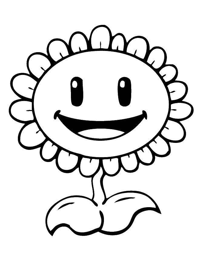 Раскраска Цветочек Скачать Зомби против растений, мультфильмы, растения.  Распечатать ,Зомби против растений,
