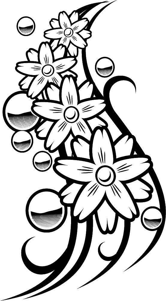 Раскраска Цветы и пузыри. Скачать цветы, пузыри.  Распечатать ,цветы,