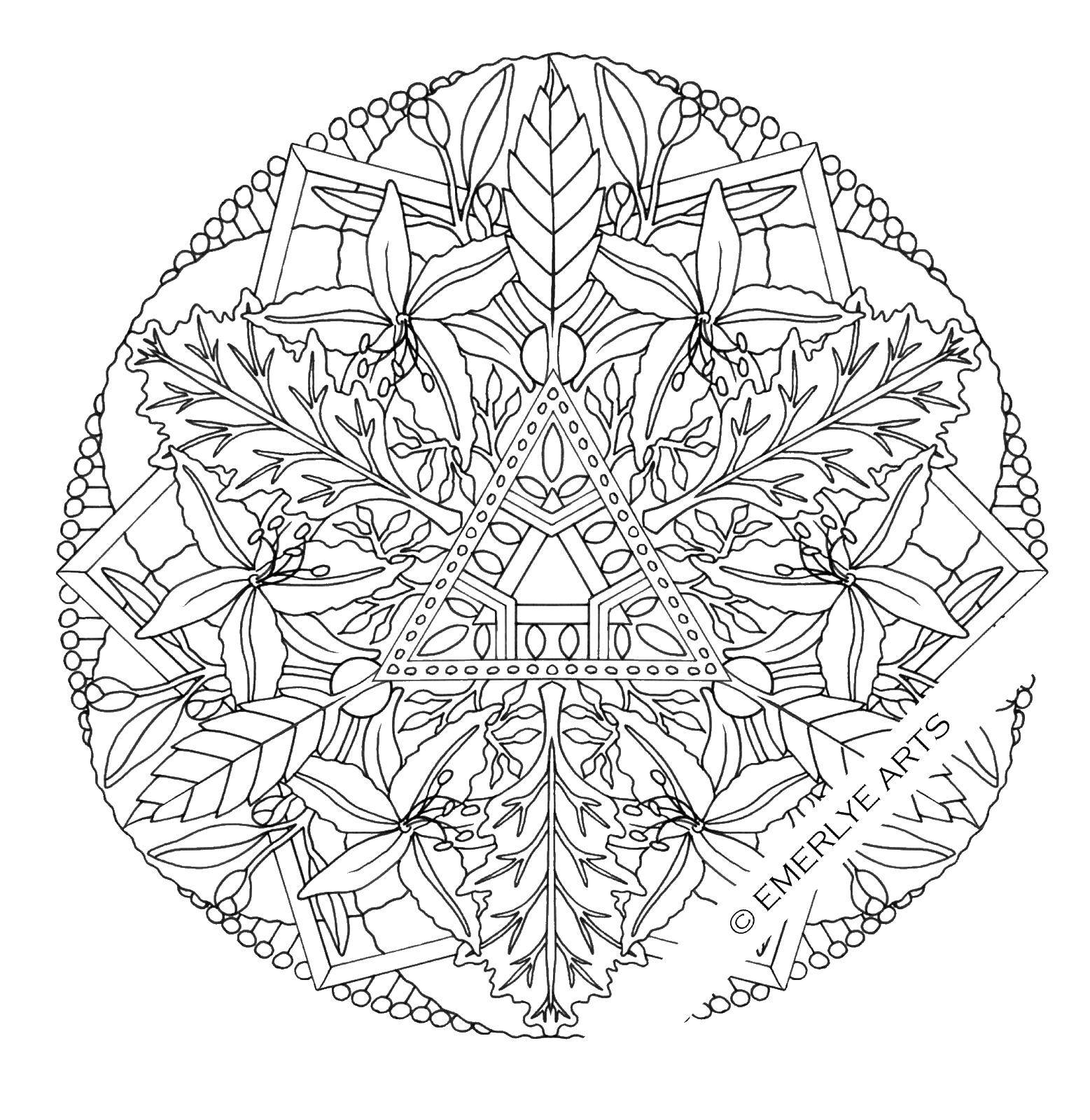 Раскраска Узорчики с цветочками. Скачать узоры, цветочки, узор..  Распечатать ,узоры,
