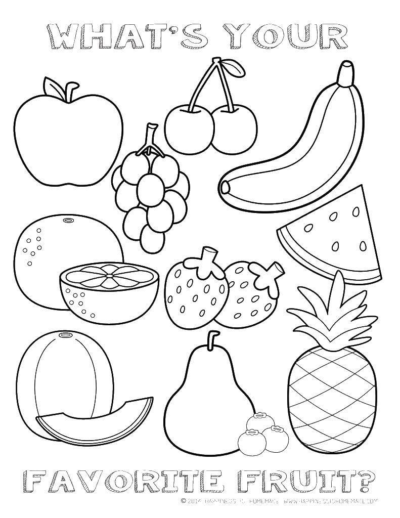 Раскраска Ваши любимые фрукты. Скачать фрукты, еда, полезное питание.  Распечатать ,фрукты,