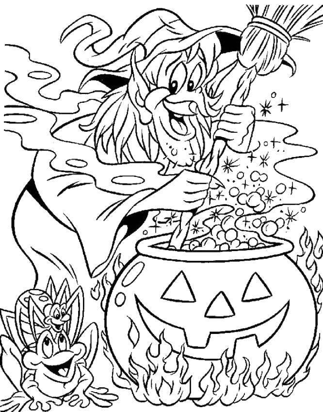 Раскраска Ведьма и котел. Скачать ведьма, метла, котел.  Распечатать ,ведьма,