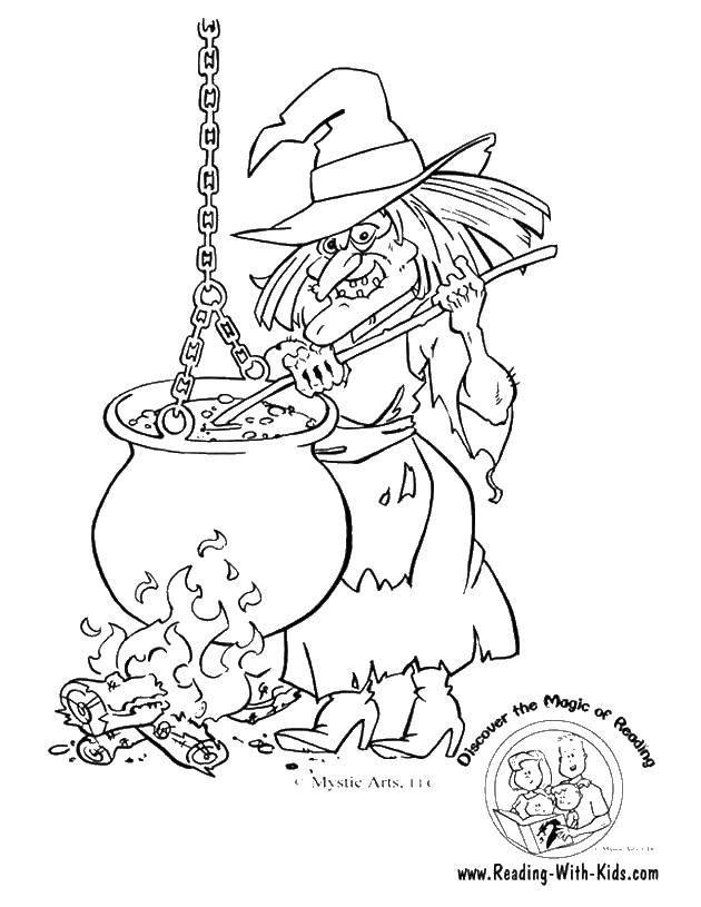 Раскраска Ведьма и котел Скачать ведьма, котлы, сказки.  Распечатать ,ведьма,
