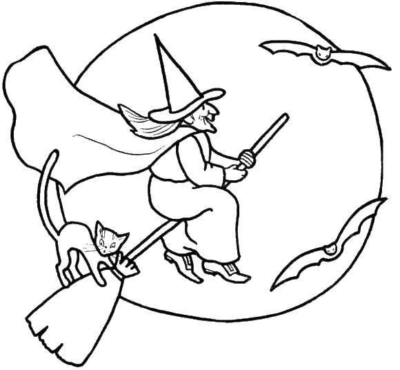 Раскраска Ведьма на метле.. Скачать ведьма, метла, луна.  Распечатать ,ведьма,
