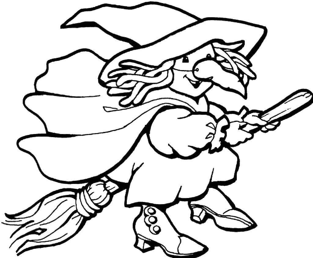 Раскраска Ведьма с большим носом. Скачать ведьмы, ведьма, нос, метла.  Распечатать ,ведьма,