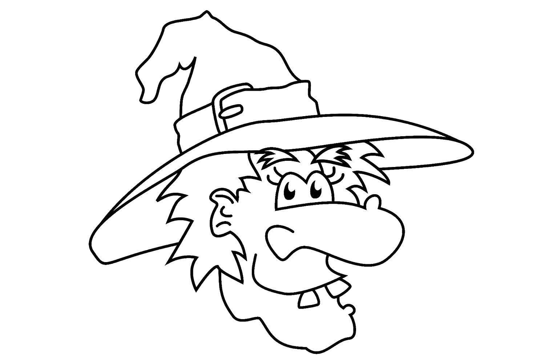 Раскраска Ведьма в шляпе. Скачать ведьма, лицо, шляпа.  Распечатать ,ведьма,