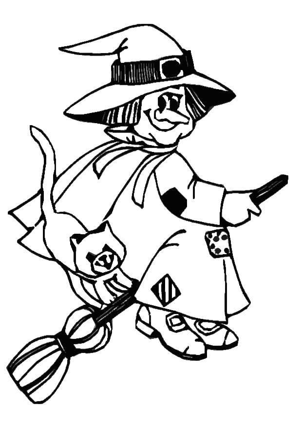 Раскраска Ведьмочка с кошкой. Скачать ведьмы, ведьма, метла.  Распечатать ,ведьма,