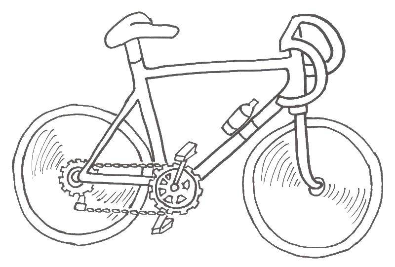 Раскраска Велосипед на ходу Скачать Транспорт.  Распечатать ,раскраски,