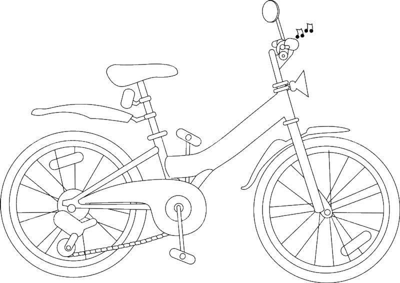 Раскраска Велосипедпед, колеса Скачать велоси.  Распечатать ,раскраски,