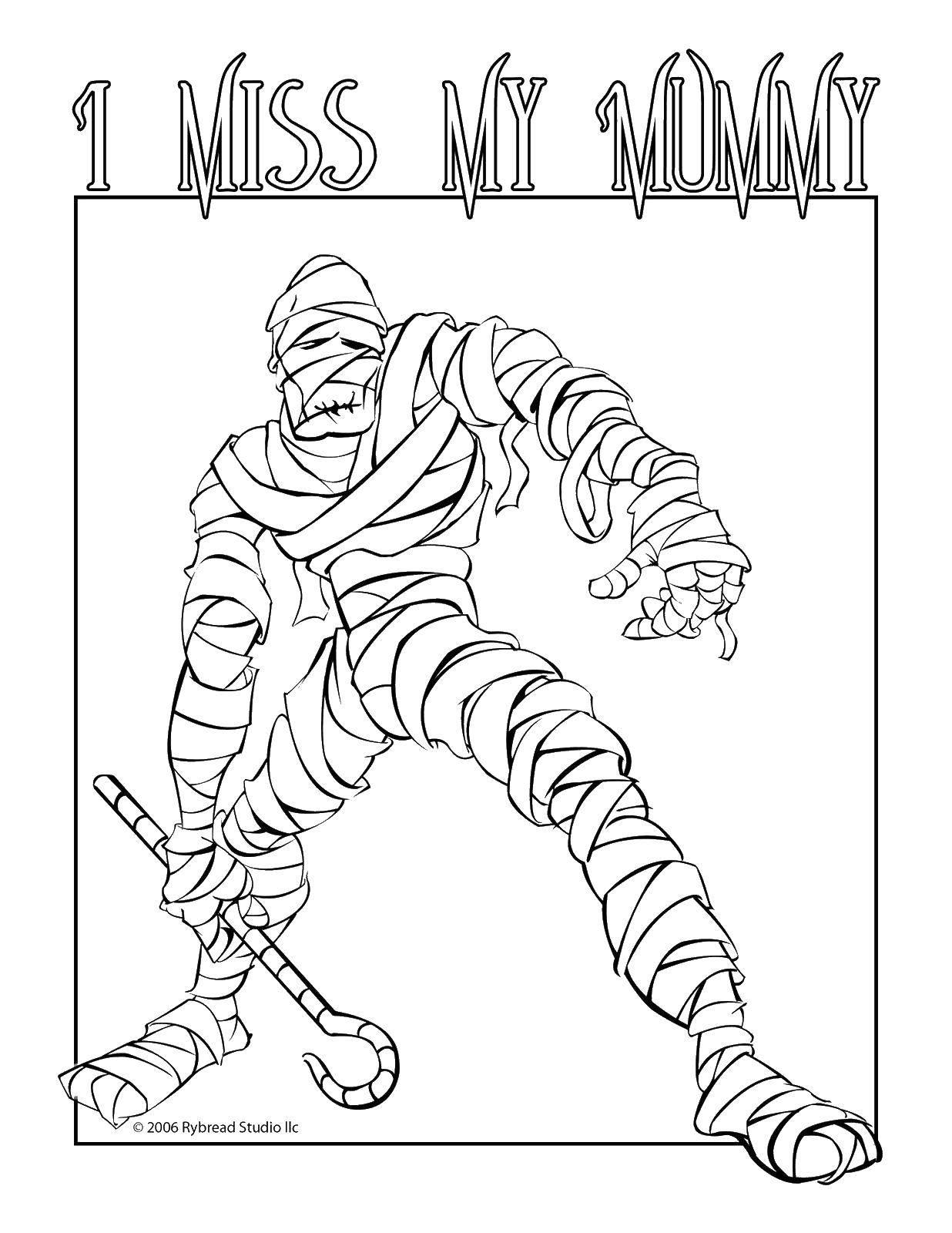 Раскраска Я скучаю по моей мумии. Скачать Мумия.  Распечатать ,Мумия,