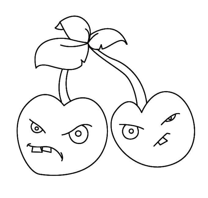 Раскраска Злобные вишни Скачать Зомби против растений, игра.  Распечатать ,Зомби против растений,
