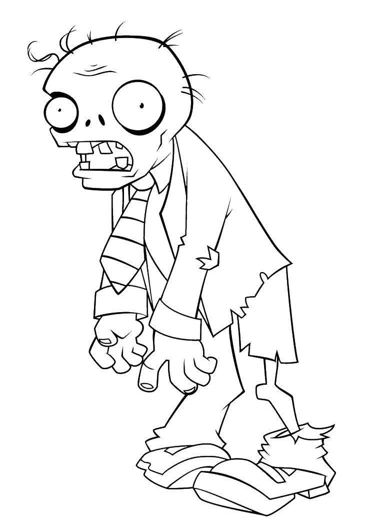Раскраска Злой зомби Скачать зомби, зомби против растения, мультики.  Распечатать ,Зомби против растений,