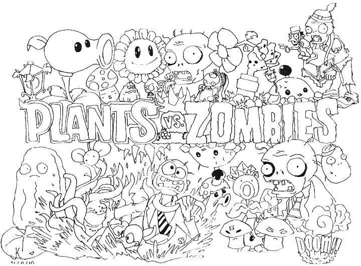Раскраска Зомби и растения Скачать зомби, растения.  Распечатать ,Зомби против растений,