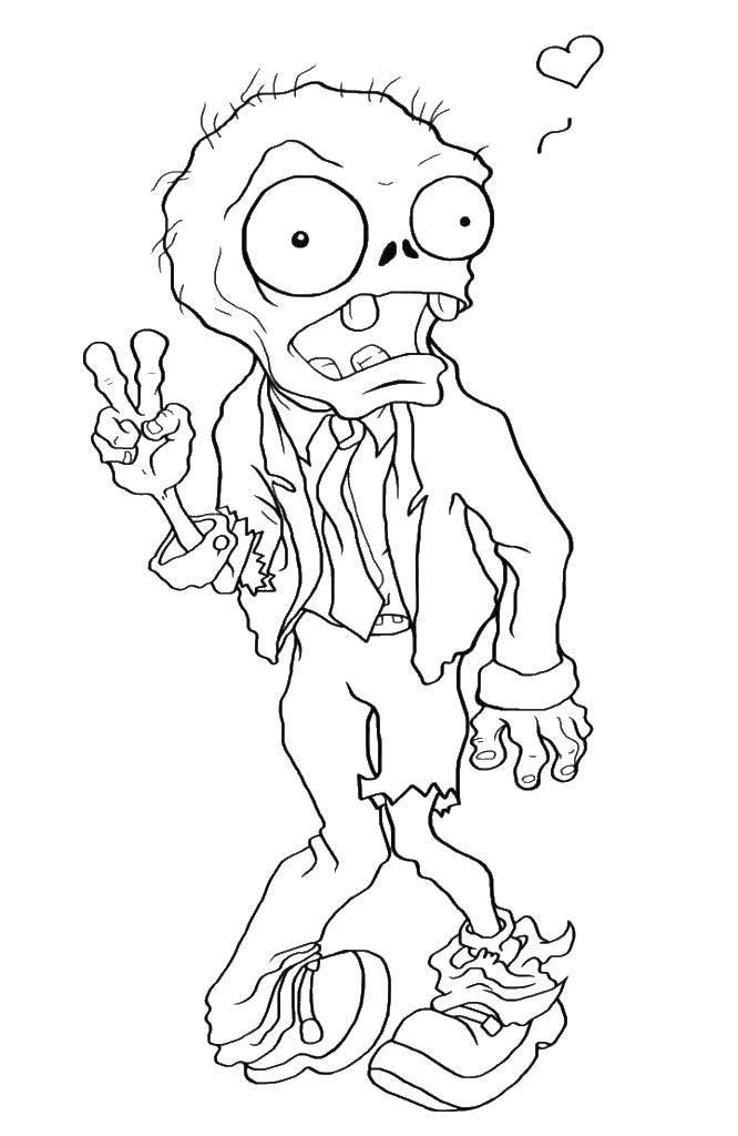 Раскраска Зомби и сердечко Скачать зомби, зомби против растения, мультики.  Распечатать ,Зомби против растений,