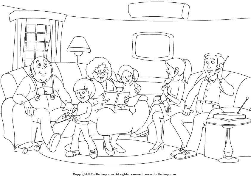 Раскраска Люди Скачать ,Семья, родители, дети,.  Распечатать
