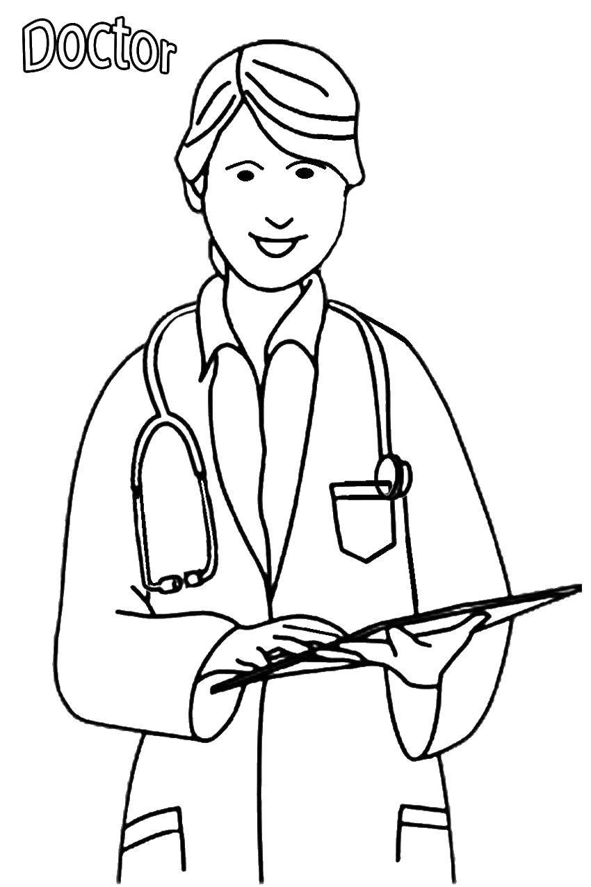 Online Coloring Pages Coloring Page Female Doctor Medical Coloring