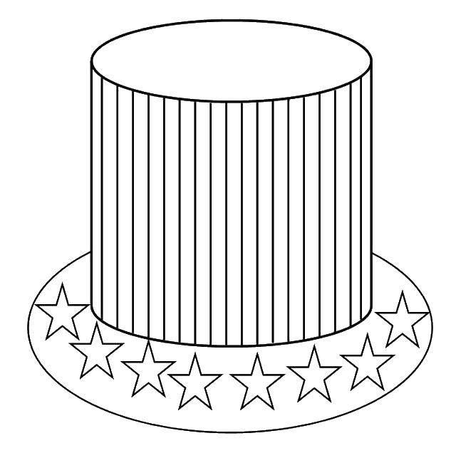 Раскраска Американская шляпа Скачать Америка, США, флаг.  Распечатать ,США,