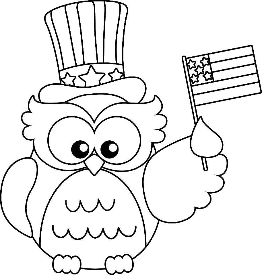 Раскраска Американская сова Скачать Америка, США, флаг.  Распечатать ,США,