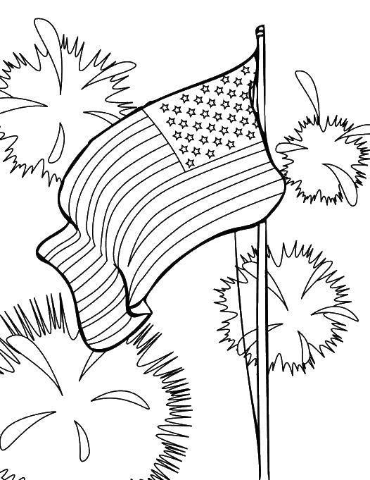 Раскраска Американский флаг и салюты Скачать америка, флаг, салюты.  Распечатать ,Америка,